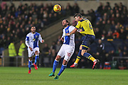 Blackburn Danny Graham (10) and  Oxford United Aaron Martin (6) go for the high ball during the EFL Sky Bet League 1 match between Oxford United and Blackburn Rovers at the Kassam Stadium, Oxford, England on 21 November 2017. Photo by Gary Learmonth.