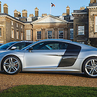 Audi R8 V10, quattro all-wheel drive, at the launch of Althorp House, Althorp, Northampton, UK, 24 February 2015