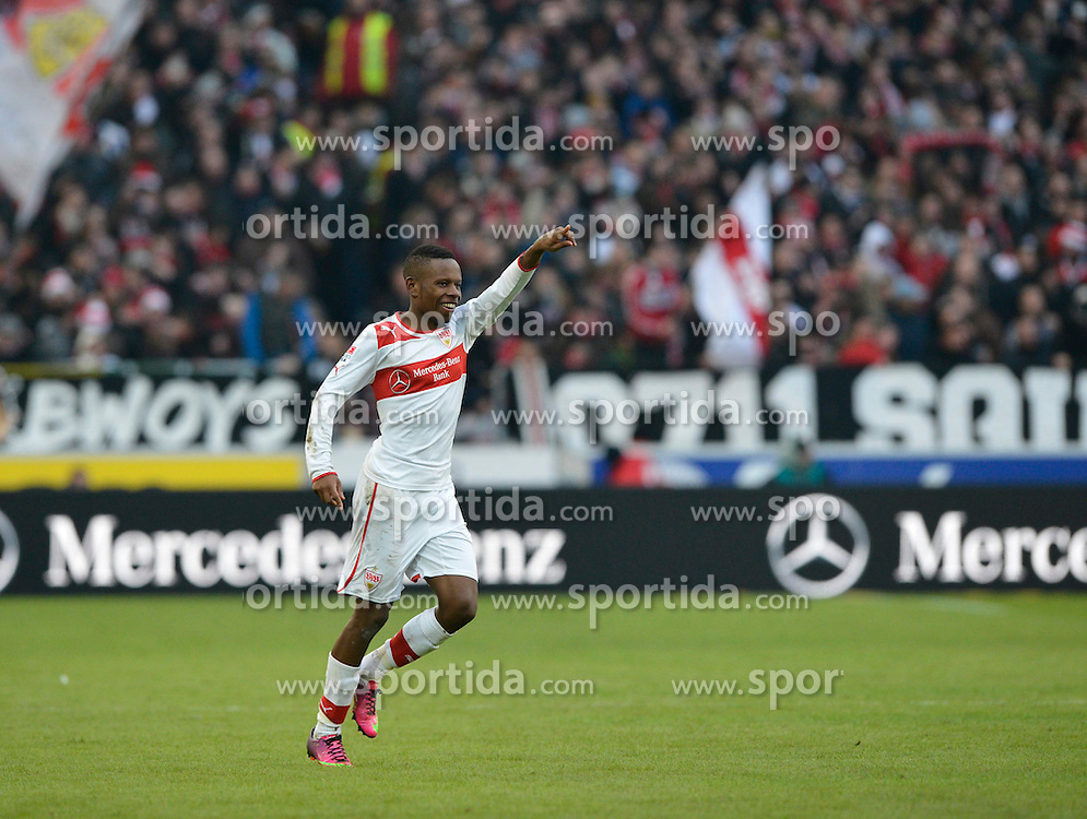 09.02.2013, Mercedes Benz Arena, Stuttgart, GER, 1. FBL, VfB Stuttgart vs SV Werder Bremen, 21. Runde, im Bild Tor zum 1:1 Ausgleich für Stuttgart durch Ibrahima TRAORE VfB Stuttgart Torjubel, Jubel, Freude, Emotion Gruß Richtung Torwart Sven ULREICH VfB Stuttgart, // during the German Bundesliga 21th round match between VfB Stuttgart and SV Werder Bremen at the Mercedes Benz Arena, Stuttgart, Germany on 2013/02/09. EXPA Pictures © 2013, PhotoCredit: EXPA/ Eibner/ Weber..***** ATTENTION - OUT OF GER *****
