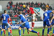 Bristol City's Aden Flint goes close to getting his hat trick during the Sky Bet Championship match between Bristol City and Ipswich Town at Ashton Gate, Bristol, England on 13 February 2016. Photo by Shane Healey.