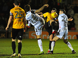 Max Muller of Morecambe competes with Frank Nouble of Newport County - Mandatory by-line: Nizaam Jones/JMP- 23/01/2018 - FOOTBALL - Rodney Parade - Newport, Wales- Newport County v Morecambe - Sky Bet League Two