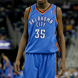 Oct 10, 2009; New Orleans, LA, USA;  Oklahoma City Thunder forward Kevin Durant (35) during a preseason game against the New Orleans Hornets at the New Orleans Arena. The Hornets defeated the Thunder 88-79. Mandatory Credit: Derick E. Hingle-US PRESSWIRE