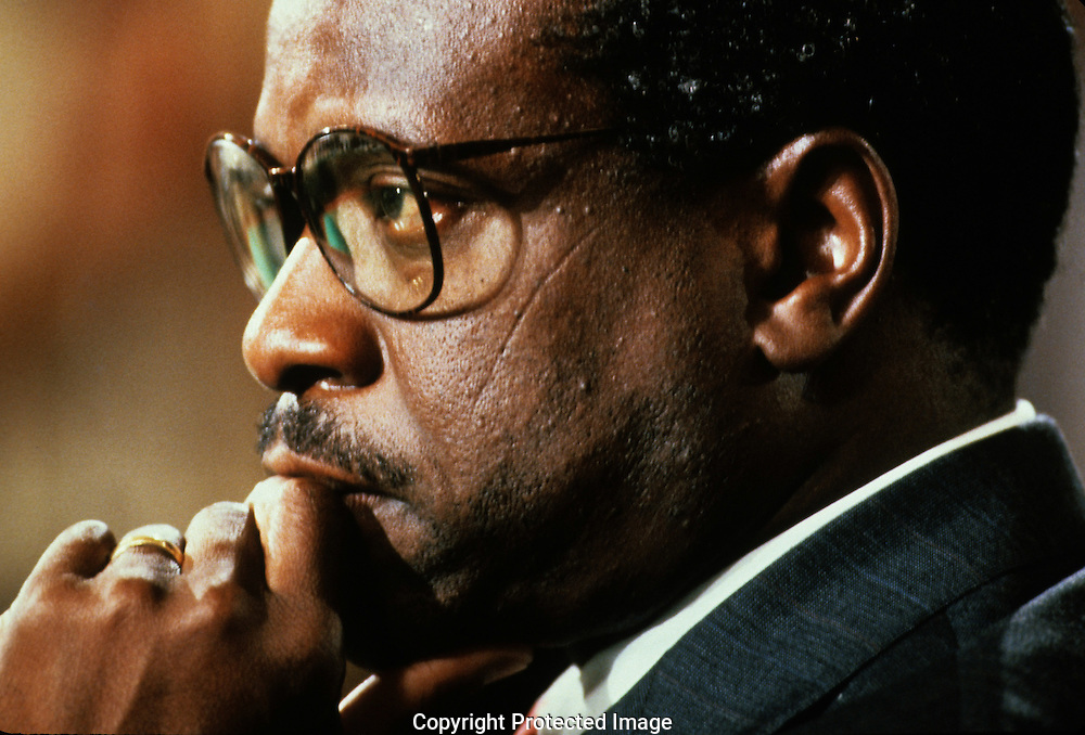 Clarenced Thomas at his confirmation hearings to be a justice on the Supreme Court in September 1991..Photograph by Dennis Brack bb24