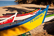 Colorful yolas along Crash Boat beach Aguadilla Puerto Rico