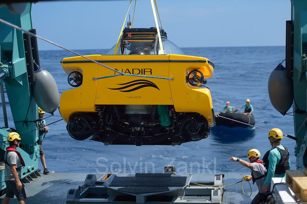 Nadir submersible being being taken out of the water. Central equatorial Atlantic Ocean, Saint Peter and Saint Paul Archipelago, Brazil #STP17 [first published through bioGraphic, a program of the California Academy of Sciences] |