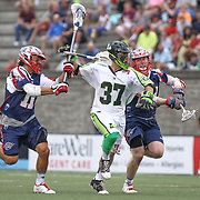 Jerry Ragonese #37 of the New York Lizards runs with the ball during the game at Harvard Stadium on July 19, 2014 in Boston, Massachusetts. (Photo by Elan Kawesch)