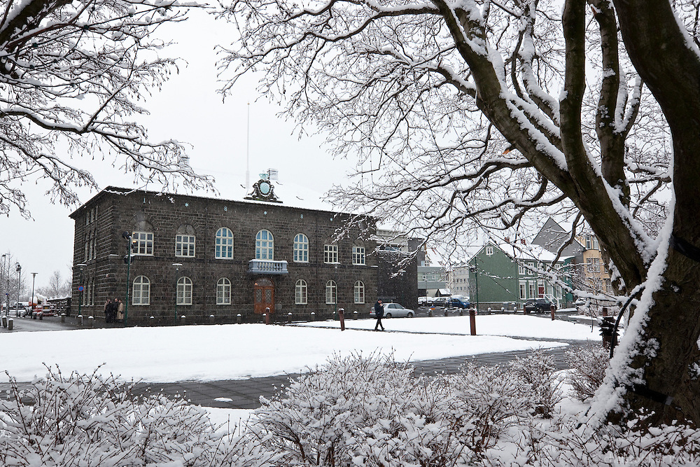 Alþingi of Iceland, the Icelandic Parlament building in winter.