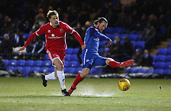 Jack Marriott of Peterborough United is fouled by Jack Fitzwater of Walsall for the penalty - Mandatory by-line: Joe Dent/JMP - 27/02/2018 - FOOTBALL - ABAX Stadium - Peterborough, England - Peterborough United v Walsall - Sky Bet League One