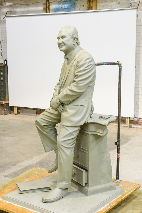 Current progress on the J.D. Nichols statue by Sculptor Matthew Weir, Wednesday, March 14, 2018 at his studio in Louisville, Ky. (Photo by Brian Bohannon)