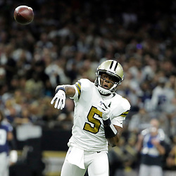 Sep 29, 2019; New Orleans, LA, USA; New Orleans Saints quarterback Teddy Bridgewater (5) throws against the Dallas Cowboys during the first quarter at the Mercedes-Benz Superdome. Mandatory Credit: Derick E. Hingle-USA TODAY Sports