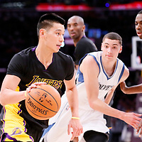 28 November 2014: Los Angeles Lakers guard Jeremy Lin (17) goes to the hoop during the Minnesota Timberwolves 120-119 victory over the Los Angeles Lakers, at the Staples Center, Los Angeles, California, USA.