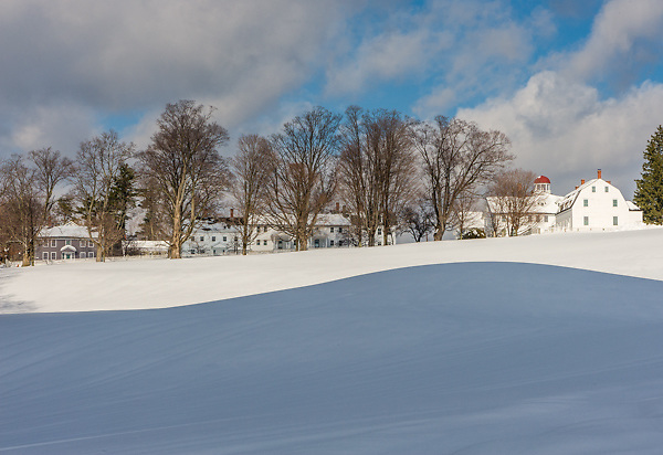 View of the Village in Winter, Canterbury Shaker Village, NH.<br />