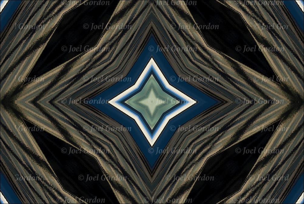 Kaleidoscope effect of reflections going inward forming a star shape pattern