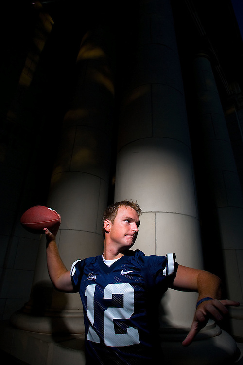 2ND CHOICE INSIDE----John Beck BYU quarterback portrait shoot on the BYU campus Maeser Building in Provo, Utah Wednesday August 2, 2006.  August Miller/Deseret Morning News