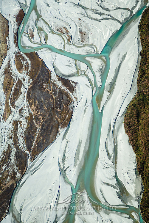 An aerial view of the Dart River, near Glenorchy, South Island, New Zealand.