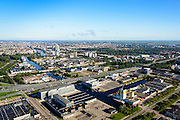 Nederland, Noord-Holland, Amsterdam, 27-09-2015; Overamstel en Amstel Business Park, industrie- en bedrijventerrein aan de Duivendrechtsevaart. Persgroep Printing Amsterdam (Drukkerij Perscombinatie) en kantoor G-Star aan Joham Muyskensweg.<br /> Industrial estate in southeast of Amsterdam.<br /> luchtfoto (toeslag op standard tarieven);<br /> aerial photo (additional fee required);<br /> copyright foto/photo Siebe Swart