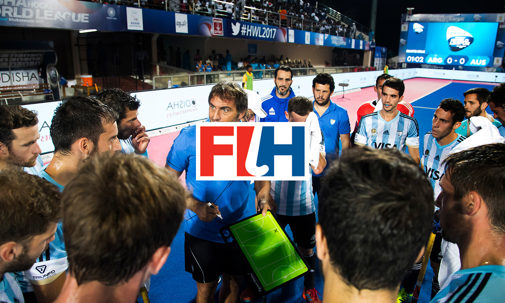BHUBANESWAR - . coach Carlos Retegui (Arg)  Hockey World League finals , Final Australia-Argentina (2-1) . Australia wint de finale. COPYRIGHT KOEN SUYK