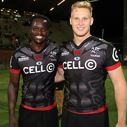 Lubabalo Tera Mtembu of the Cell C Sharks with Jean-Luc du Preez of the Cell C Sharks during The Cell C Sharks Pre Season warm up game 2 Cell C Sharks A and Toyota Cheetahs A,at King Zwelithini Stadium, Umlazi, Durban, South Africa. Friday, 3rd February 2017 (Photo by Steve Haag)