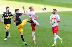 28.05.2017, Red Bull Arena, Salzburg, AUT, 1. FBL, FC Red Bull Salzburg vs Cashpoint SCR Altach, 36. Runde, im Bild v.l.: Nikola Dovedan (Altach), Valentino Mueller (Altach), Hannes Wolf (FC Red Bull Salzburg), Valon Berisha (FC Red Bull Salzburg) // during Austrian Football Bundesliga 36th round Match between FC Red Bull Salzburg and Cashpoint SCR Altach at the Red Bull Arena, Salzburg, Austria on 2017/05/28. EXPA Pictures © 2017, PhotoCredit: EXPA/ JFK
