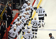 May 13, 2012; Glendale, AZ, USA; Los Angeles Kings celebrate after right wing Dustin Brown (23) scores a goal in the first period of game one of the Western Conference finals of the 2012 Stanley Cup Playoffs at Jobing.com Arena.  Mandatory Credit: Jennifer Stewart-US PRESSWIRE.