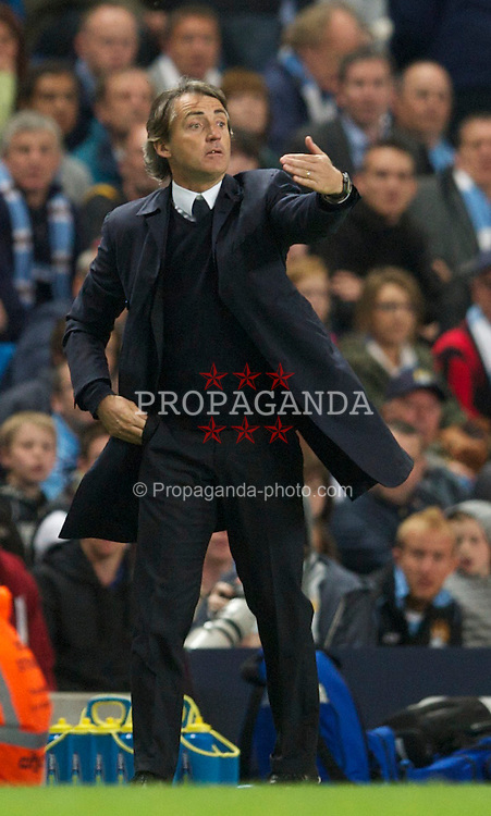 MANCHESTER, ENGLAND - Monday, May 10, 2011: Manchester City's manager Roberto Mancini during the Premiership match against Tottenham Hotspur at the City of Manchester Stadium. (Photo by David Rawcliffe/Propaganda)