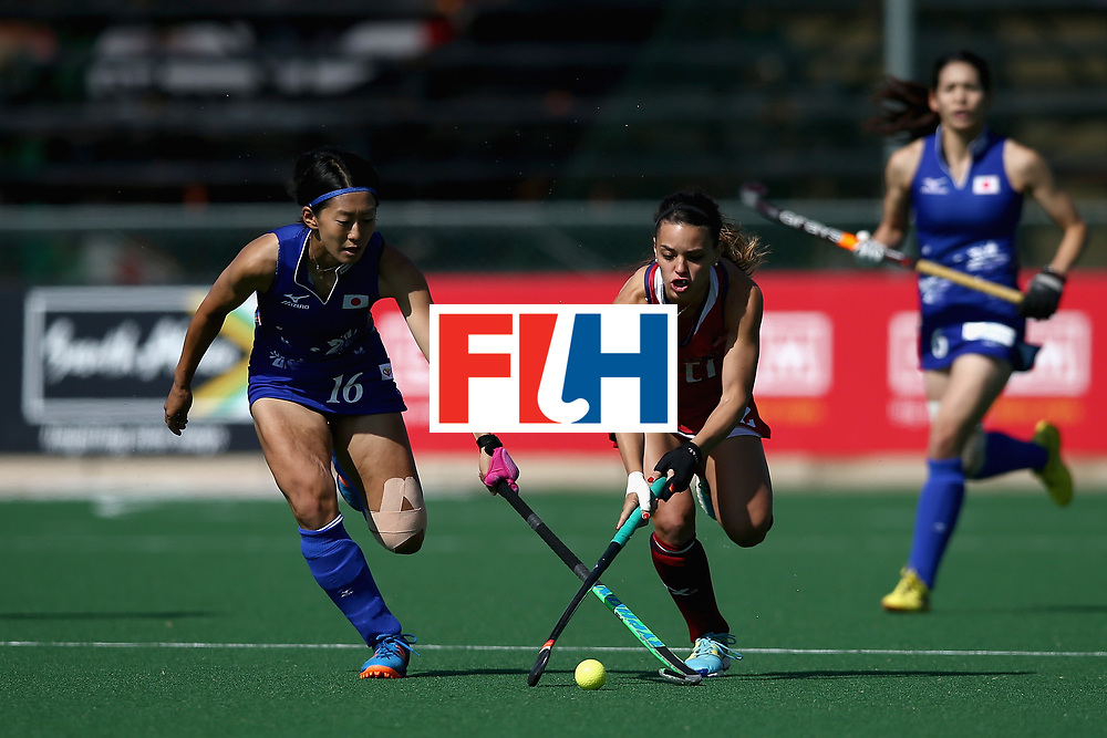 JOHANNESBURG, SOUTH AFRICA - JULY 18: Amanda Magadan of the United States and Kana Nomura of Japan battle for possession during the Quarter Final match between the United States and Japan during the FIH Hockey World League - Women's Semi Finals on July 18, 2017 in Johannesburg, South Africa.  (Photo by Jan Kruger/Getty Images for FIH)