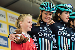 Each team is presented with a teddy mascot during sign in at Aviva Women's Tour 2016 - Stage 2. A 140.8 km road race from Atherstone to Stratford upon Avon, UK on June 16th 2016.