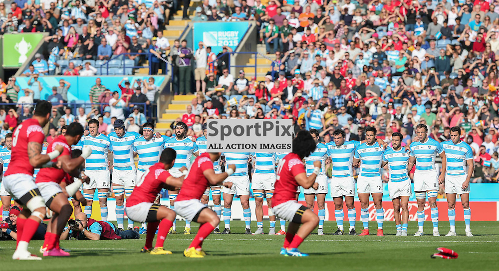 The Argentine team face the Tongan team beofre the Rugby World Cup Argentina v Tonga, Sunday 04 October 2015, Leicester City Stadium, Leicester, England Stadium (Photo by Mike Poole - SportPix)