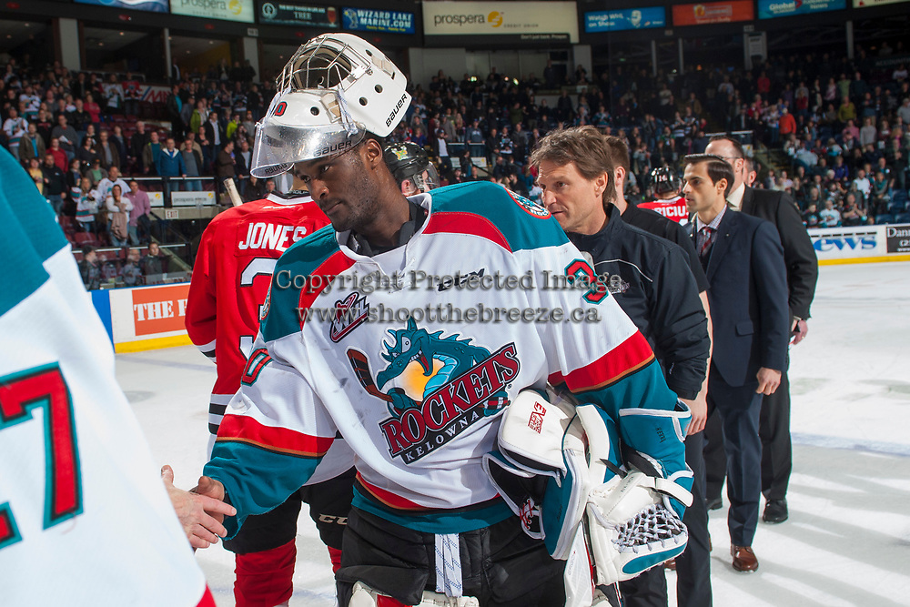 KELOWNA, CANADA - APRIL 14: Michael Herringer #30 of the Kelowna Rockets shakes hands with the Portland Winterhawks on April 14, 2017 at Prospera Place in Kelowna, British Columbia, Canada.  (Photo by Marissa Baecker/Shoot the Breeze)  *** Local Caption ***