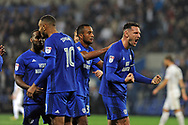 Cardiff City captain Sean Morrison (r) celebrates after Kenneth Zohore (10) score's Cardiff's third goal. EFL Skybet championship match, Cardiff city v Leeds Utd at the Cardiff city stadium in Cardiff, South Wales on Tuesday 26th September 2017.<br /> pic by Carl Robertson, Andrew Orchard sports photography.