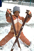 Getting ready to go cross country skiing age 6.  St Paul  Minnesota USA