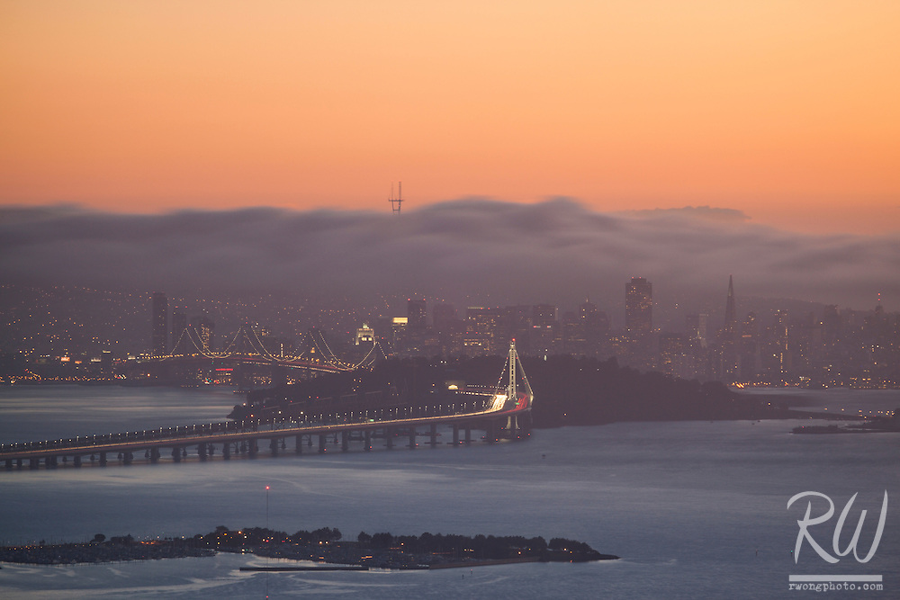 San Francisco in Fog From Grizzly Peak, Berkeley Hills, California
