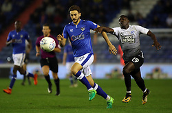 Idris Kanu of Peterborough United pressures Oliver Banks of Oldham Athletic - Mandatory by-line: Joe Dent/JMP - 26/09/2017 - FOOTBALL - Sportsdirect.com Park - Oldham, England - Oldham Athletic v Peterborough United - Sky Bet League One