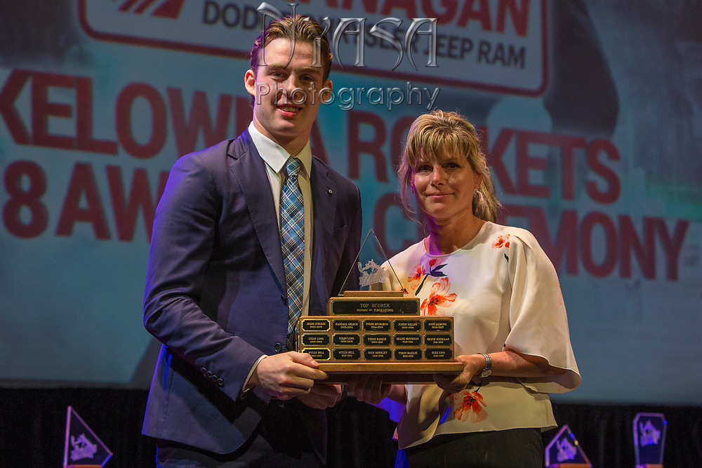 KELOWNA, CANADA - MARCH 18:  Top Scorer Award Sponsored by Pushor Mitchell.  The award was presented by Joni Metherell to Kole Lind at the Kelowna Rockets Awards Ceremony on March 18, 2018 at The Kelowna Community Theatre  in Kelowna, British Columbia, Canada.  (Photo By Cindy Rogers/Nyasa Photography,  *** Local Caption ***