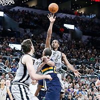 02 April 2017: San Antonio Spurs forward Kawhi Leonard (2) goes for the jump shot during the San Antonio Spurs 109-103 victory over the Utah Jazz, at the AT&T Center, San Antonio, Texas, USA.