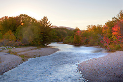 The Swift River in New Hampshire's White Mountains.  Albany, New Hampshire. Sunset. Fall. HDR.