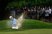 Jul 30, 2016; Springfield, NJ, USA; Jamie Donaldson hits out of a green side bunker during the third round of the 2016 PGA Championship golf tournament at Baltusrol GC - Lower Course. Mandatory Credit: Eric Sucar-USA TODAY Sports