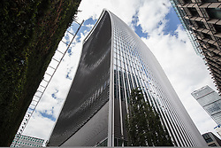 © Licensed to London News Pictures. 22/07/2015. London, UK. A general view of 20 Fenchurch Street, also known as 'The Walkie Talkie' building. People have been struggling with high winds today allegedly because of a downdraught effect caused by the design of the building.  Photo credit : James Gourley/LNP