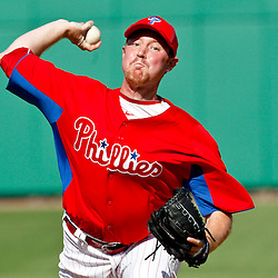 February 29, 2012; Clearwater, FL, USA; Philadelphia Phillies relief pitcher Brian Rosenberg (76) during a spring training exhibition game against Florida State University at Bright House Networks Field. The Phillies defeated Florida State 6-1. Mandatory Credit: Derick E. Hingle-US PRESSWIRE