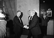"""B.O.I. GAA Allstars  (R96)..1989..03.02.1989..02.03.1989..3rd February 1989..The Awardsfor the B.O.I.Allstars were held tonight in the Burlington Hotel,Dublin. The list of the winnersis as follows..1989 - HURLING ALL STARS J. Commins (Galway), A. Fogarty (Offaly), E. Cleary (Wexford), D. Donnelly (Antrim), Conal Bonnar (Tipperary), B. Ryan (Tipperary), S. Treacy (Galway), M. Coleman (Galway), D. Carr (Tipperary), E. Ryan (Galway), Joe Cooney (Galway), O. McFetridge (Antrim), P Fox (Tipperary), Cormac Bonnar (Tipperary), N. English (Tipperary)."""" 1989 - FOOTBALL ALL STARS Gabriel Irwin (Mayo), Jimmy Browne (Mayo), Gerry Hargan (Dublin), Dermot Flanagan (Mayo); Connie Murphy (Kerry), Conor Counihan (Cork), Anthony Davis (Cork); Teddy McCarthy (Cork), Willie Joe Padden (Mayo); Dave Barry (Cork) Larry Tompkins (Cork), Noel Durkin (Mayo); Paul McGrath (Cork), Eugene McKenna (Tyrone), Tony McManus (Roscommon).""""..Image shows An Taoiseach, Charles Haughey,being greeted by Gaa and BOI officials as he arrives to present the Allstars Awards."""