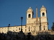 The church of the Santissima Trinità dei Monti and Sallustiano Obelisk near the Spanish Steps in Rome, Italy