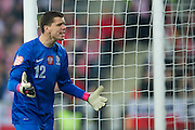 Poland's goalkeeper Wojciech Szczesny shouts during international friendly soccer match between Poland and Ireland at Inea Stadium in Poznan on November 19, 2013.<br /> <br /> Poland, Poznan, November 19, 2013<br /> <br /> Picture also available in RAW (NEF) or TIFF format on special request.<br /> <br /> For editorial use only. Any commercial or promotional use requires permission.<br /> <br /> Mandatory credit:<br /> Photo by &copy; Adam Nurkiewicz / Mediasport