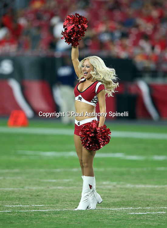 An Arizona Cardinals cheerleader cheers during the 2015 NFL preseason football game against the Kansas City Chiefs on Saturday, Aug. 15, 2015 in Glendale, Ariz. The Chiefs won the game 34-19. (©Paul Anthony Spinelli)