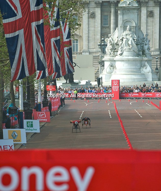 17.4.2011. Virgin London Marathon 2011.  David Weir heads towards the finish line to win the Mens Elite Wheelchair section of the 2011 Virgin London Marathon at the finish line of The Virgin London Marathon at The Mall, London ,England