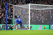 Chelsea's Diego Costa scores a goal during the Barclays Premier League match between Chelsea and Manchester United at Stamford Bridge, London, England on 7 February 2016. Photo by Ellie Hoad.