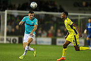 Forest Green Rovers Paul Digby(20) heads the ball during the EFL Trophy match between Forest Green Rovers and Cheltenham Town at the New Lawn, Forest Green, United Kingdom on 4 September 2018.