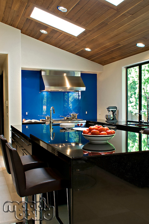 Contemporary kitchen counter of luxury villa