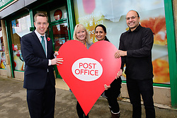 Pictured is, from left, Tom Pursglove MP, left, Karen Coles (Post Office network operations manager) and Devyani and Biren Tailor.<br /> <br /> Tom Pursglove MP has officially opened the new Post Office at the Weldon Supermarket in Weldon.<br /> <br /> Date: November 10, 2017