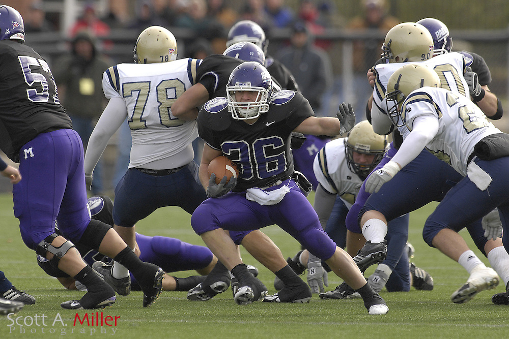 Nov. 24, 2007; Alliance, OH, USA;  Mount Union Purple Raiders running back Nate Kmic (36) during his team's 59-7 win over the College of New Jersey Lions in the second round of the Division III playoffs at Mount Union Stadium. ...©2007 Scott A. Miller