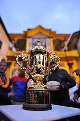 December 7, 2018 - Kathmandu, Nepal - The Webb Elllis Rugby World Cup 2019 Trophy is pictured infront Pashupatinath Temple, , UNESCO World heritages site during a country tour in Kathmandu, Nepal on Friday, December 07, 2018. The 2019 Rugby World Cup will be the ninth Rugby World Cup, and is to be hosted by Japan from 20 September to 2 November, 2019. (Credit Image: © Narayan Maharjan/NurPhoto via ZUMA Press)